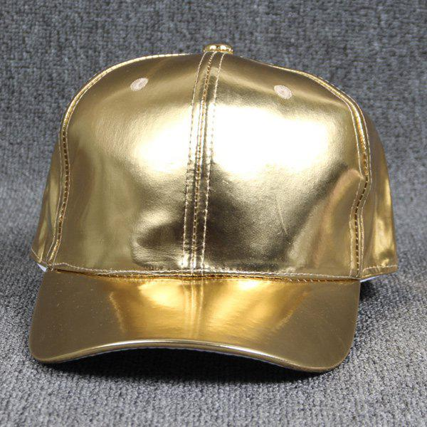 Dancers Smooth Faux Leather Bright Baseball Hat - GOLDEN