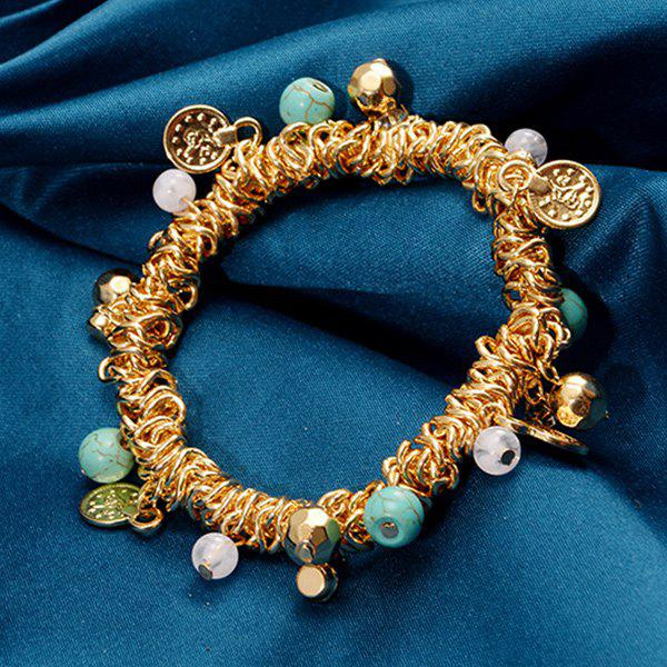 Faux Turquoise Alloy Beads Charm Bracelet - GOLDEN