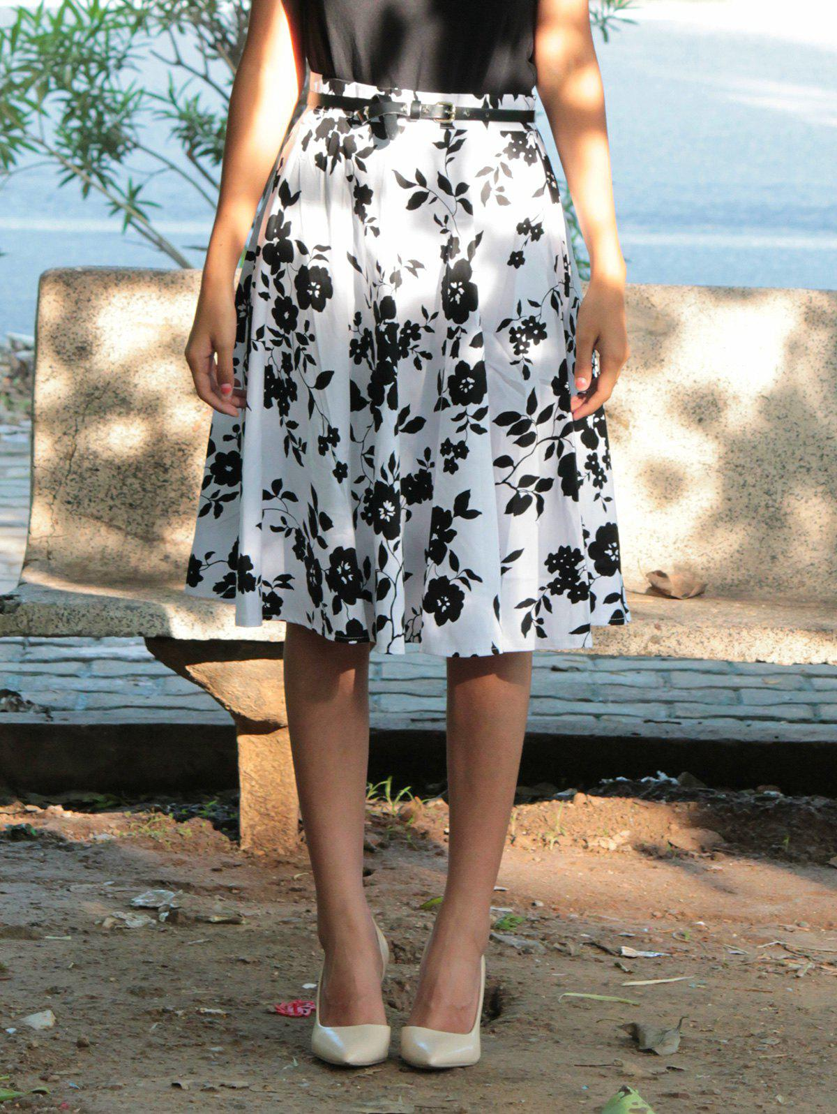 Vintage High-Waisted A-Line Floral Print Women's Skirt - WHITE/BLACK S