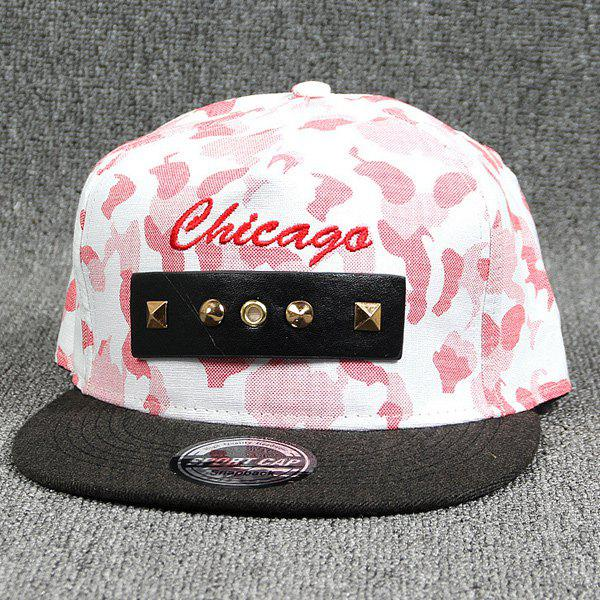 Street Dancers Rivet Letter Embroidery Camouflage Baseball Cap - RED