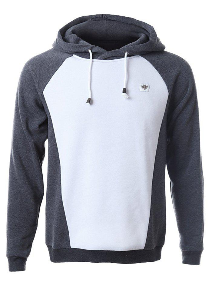 Raglan Sleeve Color Splicing Pullover Hoodie - GRAY 2XL
