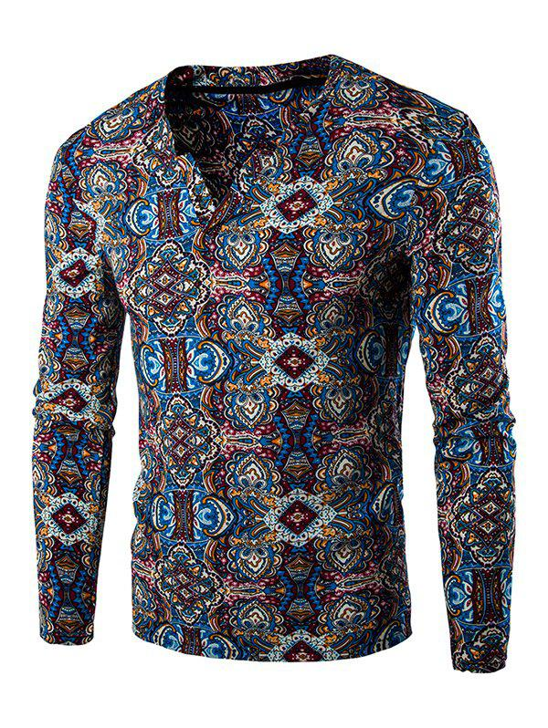 Totem Print Long Sleeves Tee - BLUE 2XL
