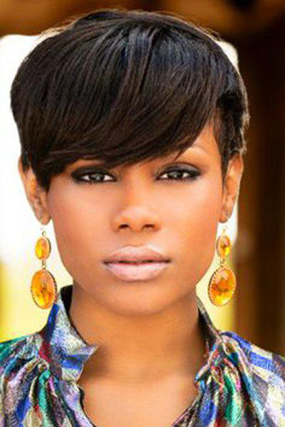 Short Natural Black Side Bang Straight Synthetic Wig - BLACK