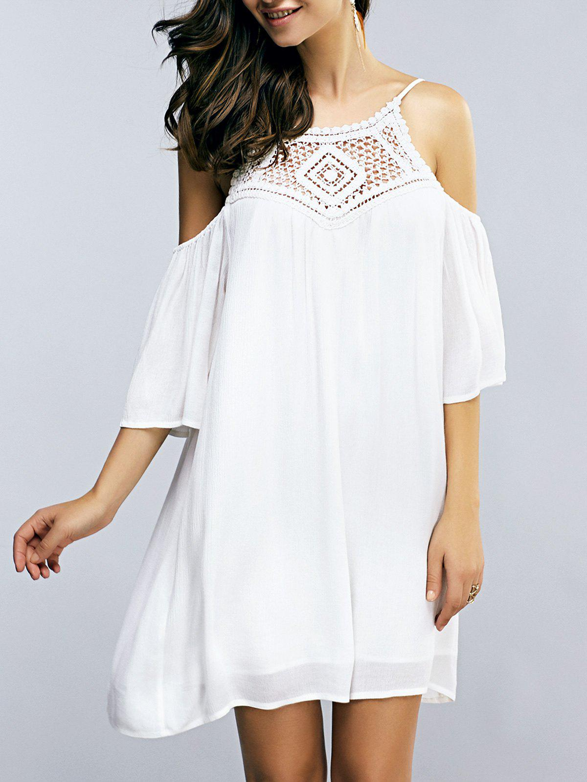 Casual Crochet Patchwork Open Back Summer Dress - OFF WHITE XL