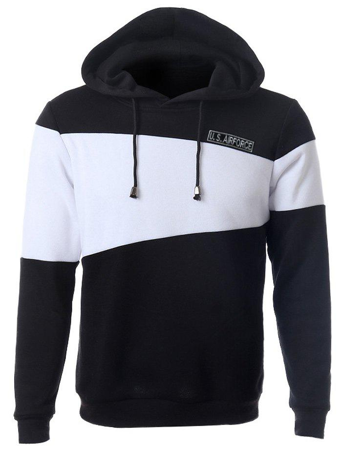 Color Splicing Letter Print Long Sleeve Drawstring Hoodie - BLACK 2XL