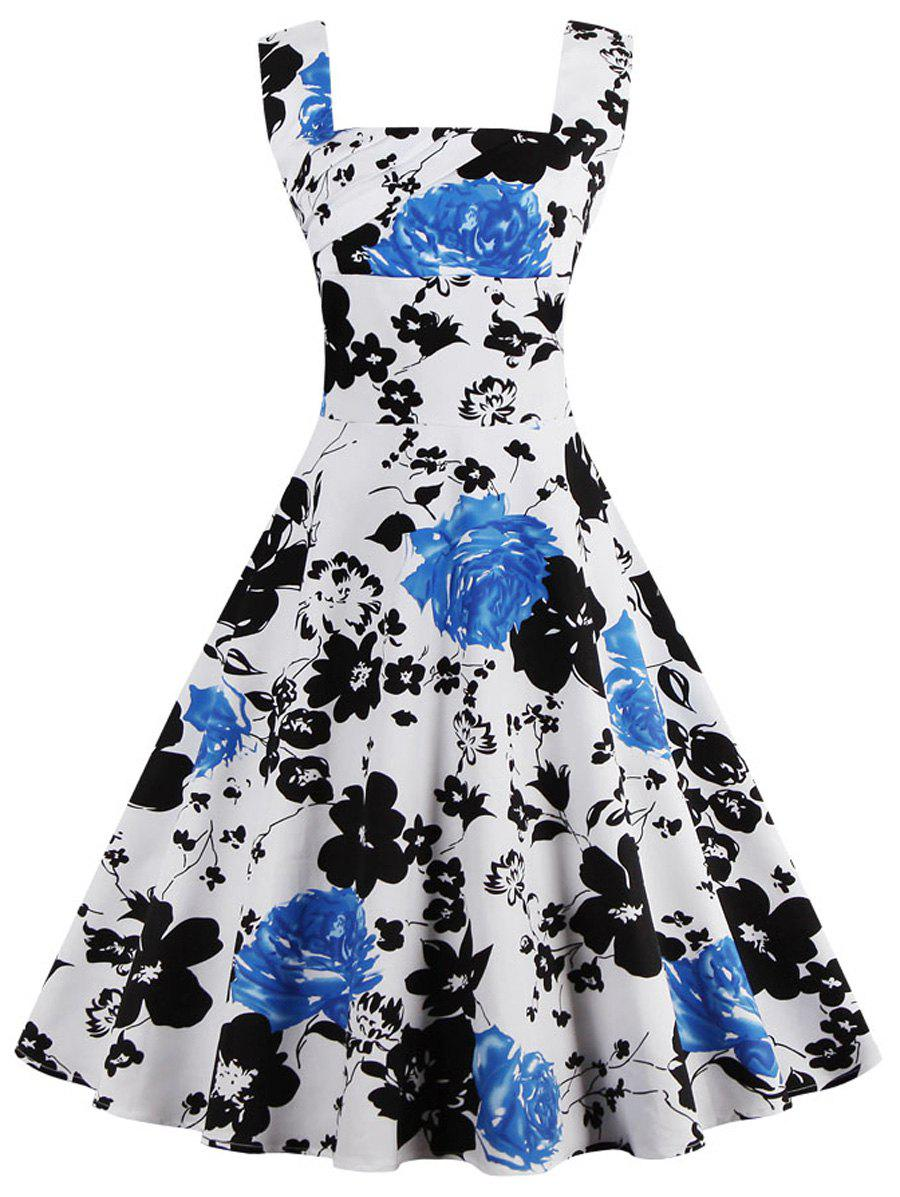 Square Neck Floral Print Sleeveless Pin Up Dress - WHITE 5XL