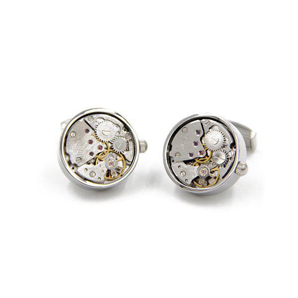 Static Round Watch Movement Faux Gem Inlay Cufflinks - SILVER