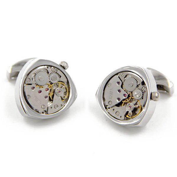 Static Round Triangle Watch Movement Faux Gem Inlay Cufflinks - SILVER
