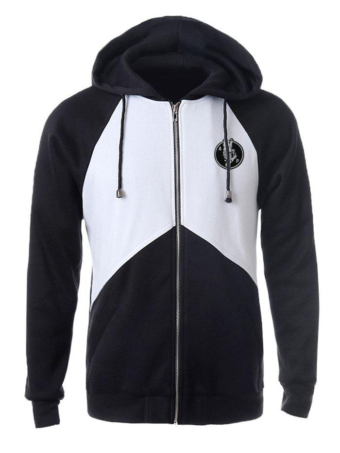 Zip Up Color Splicing Patched Raglan Sleeve Drawstring Hoodie