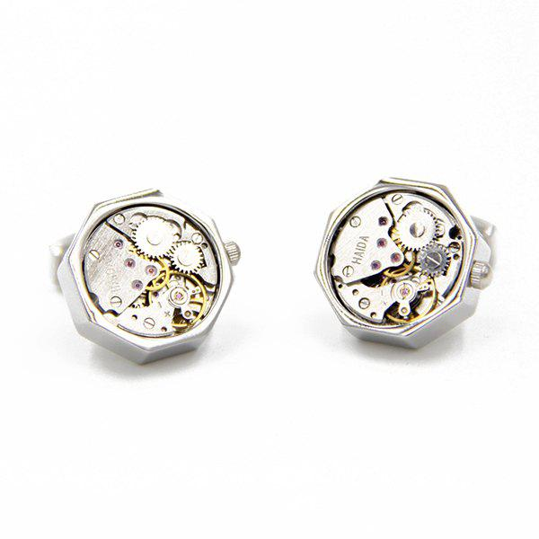 Static Octagon Watch Movement Faux Gem Inlay Cufflinks - SILVER