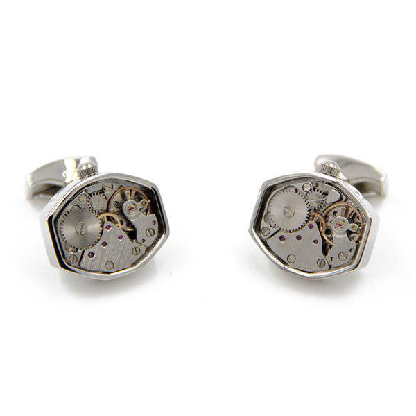 Static Geometry Watch Movement Faux Gem Inlay Cufflinks - SILVER