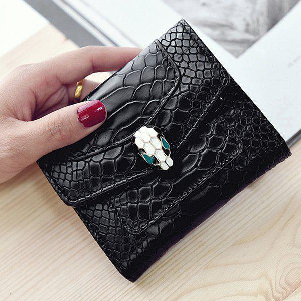 Trendy Solid Color and Embossing Design Women's Wallet - BLACK