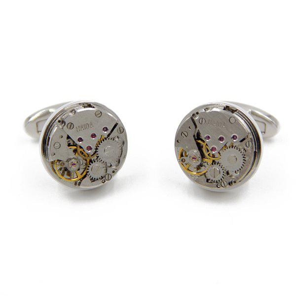 Static Round Watch Movement Faux Gem Cufflinks - SILVER