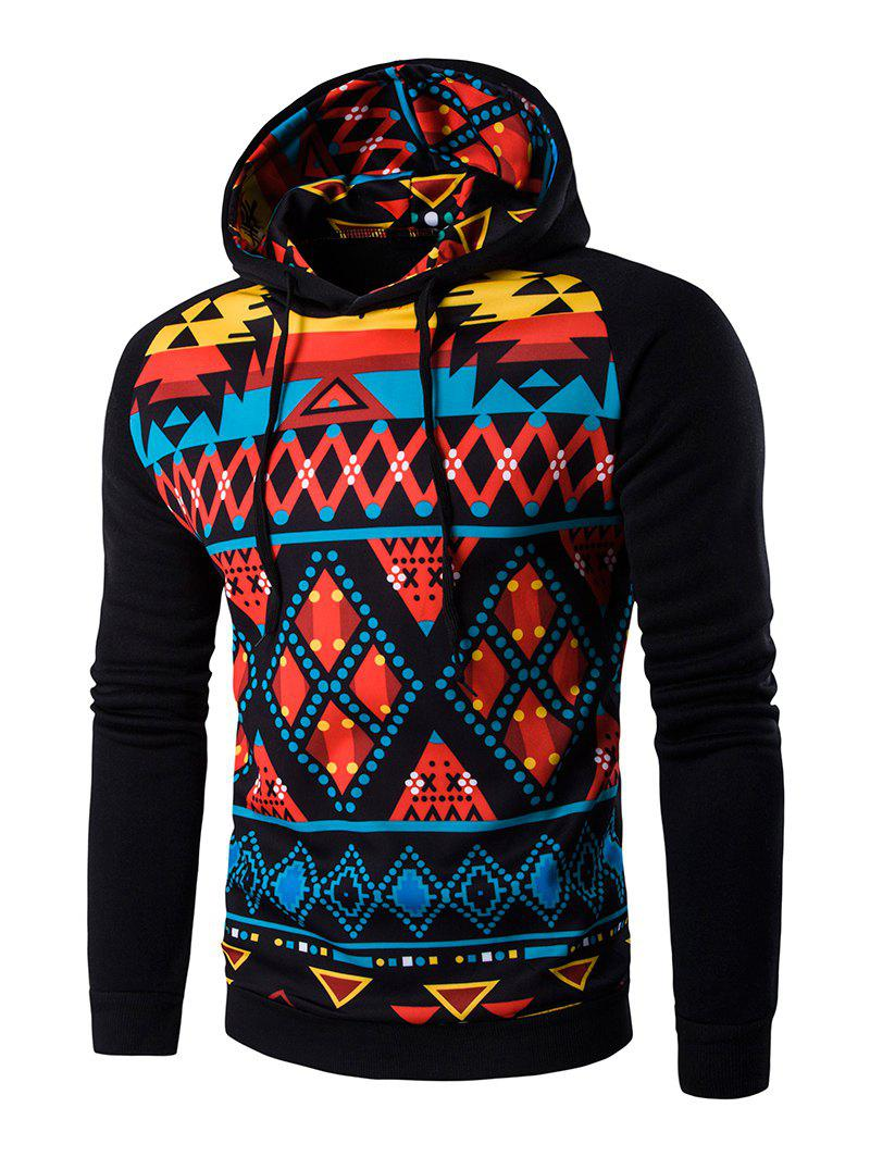 Cartoon Geometric Long Sleeve Hoodie - BLACK M