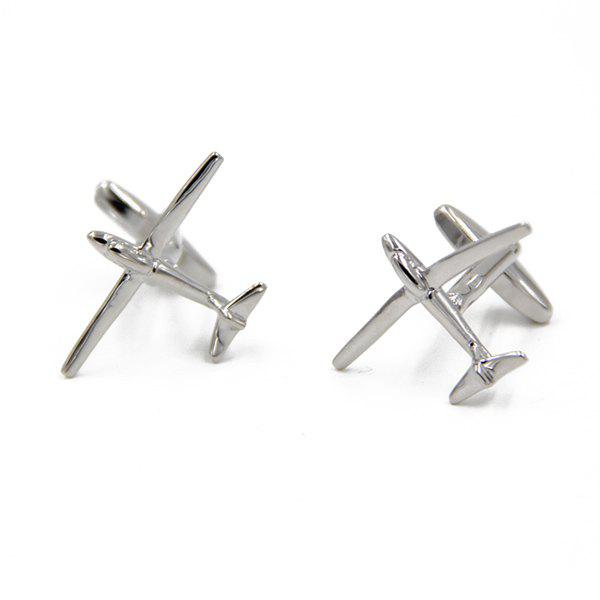 Concise Airplane Shape Cufflinks - SILVER WHITE