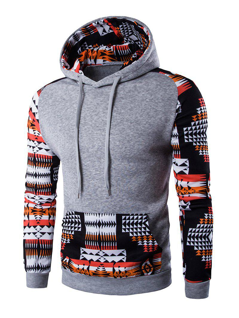 Geometric Print Patchwork Design Hoodie - LIGHT GRAY L