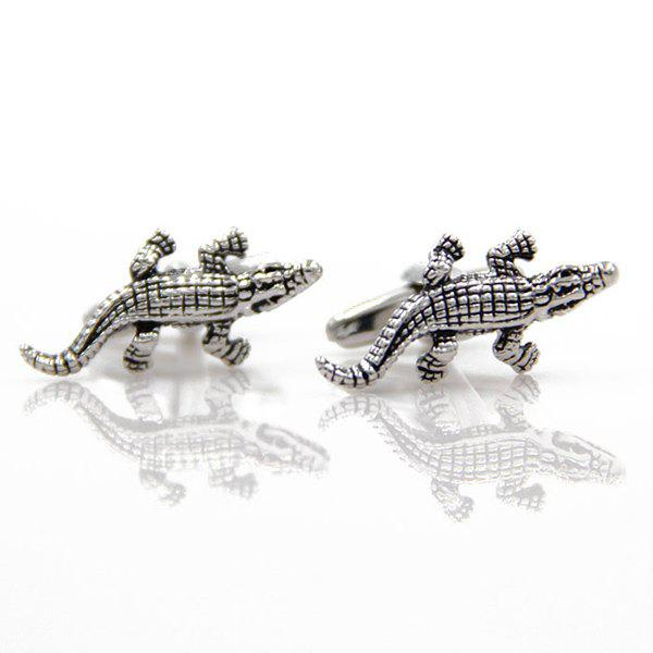 Concise Crocodile Shape Cufflinks - SILVER