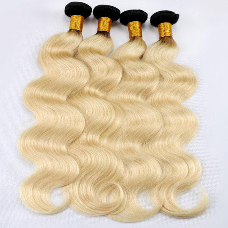 6A Virgin Brazilian Hair Shaggy Body Wave Dark Root 1 Pcs/Lot Hair Weaves - COLORMIX 14INCH