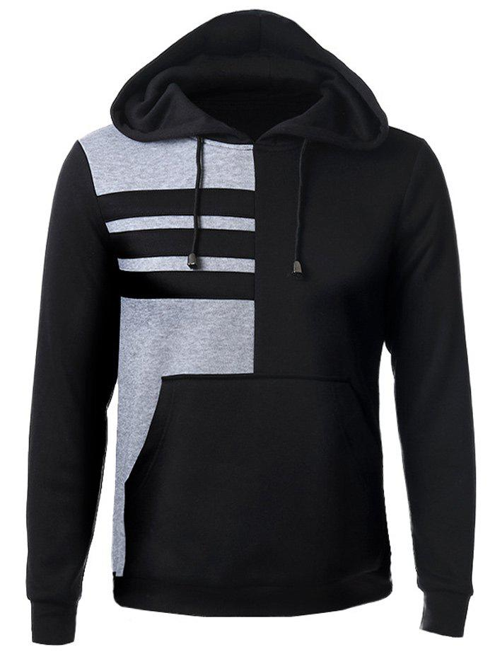 Color Splicing Patch Pocket Front Long Sleeve Drawstring Hoodie - BLACK 2XL