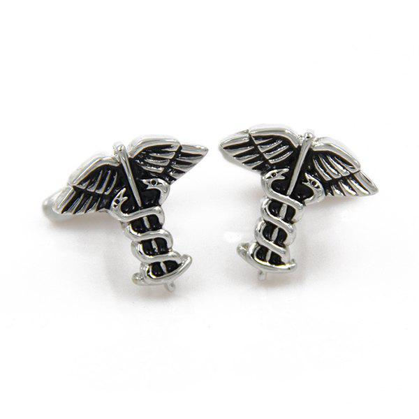 Concise Moth Snake Shape Cufflinks