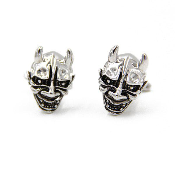 Gothic Devil Facemask Shape Cufflinks - SILVER