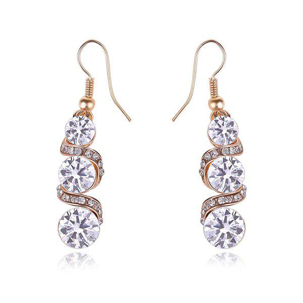 Spiral Tiered Rhinestone Drop Earrings -  ROSE GOLD