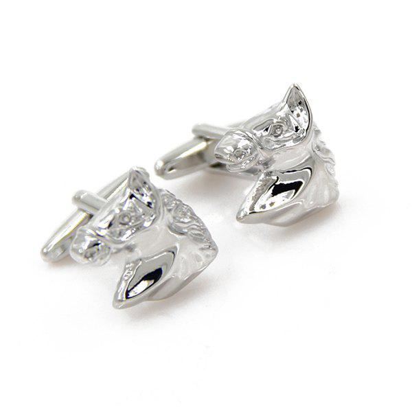 Concise Horse Head Shape Cufflinks