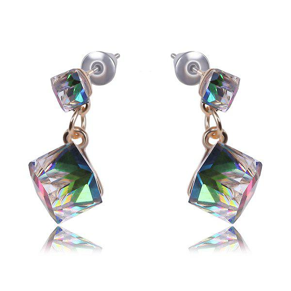 Pair of Chic Style Multicolored Artificial Crystal Double Cube Earrings