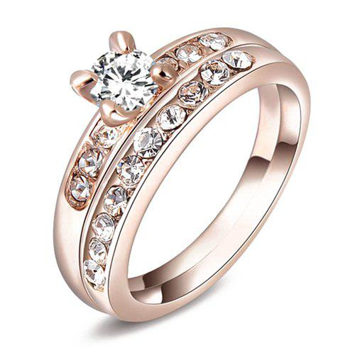 Pair of Rhinestone Wedding Rings Jewelry - ROSE GOLD ONE-SIZE