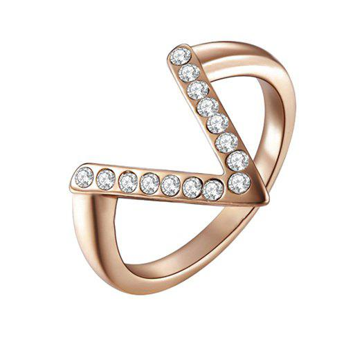 Alloy V-Shaped Rhinestone Ring