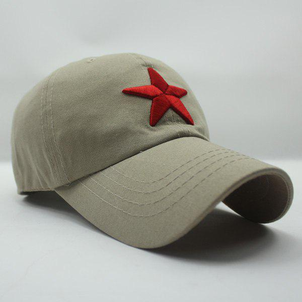 Stylish Five-Pointed Star Shape Embroidery Men's Baseball Cap - LIGHT KHAKI