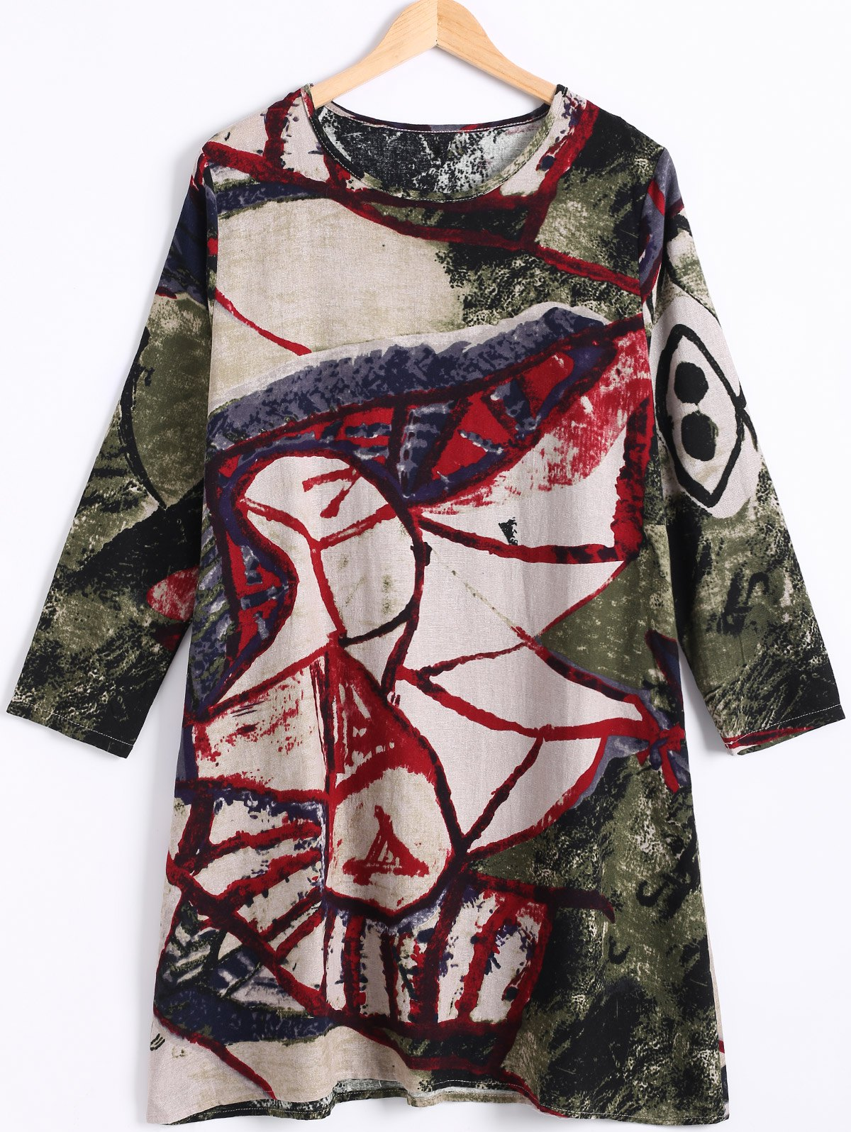 Plus Size Long Sleeve Colorful Print Dress - RED 2XL