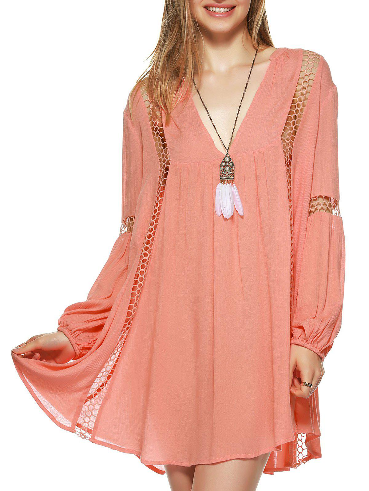 Plunging Neck Hollow Out Blouse - ORANGEPINK XL