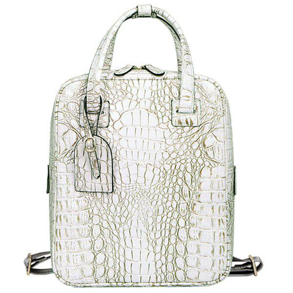 Trendy Crocodile Embossed and Zipper Design Women's Backpack - OFF WHITE