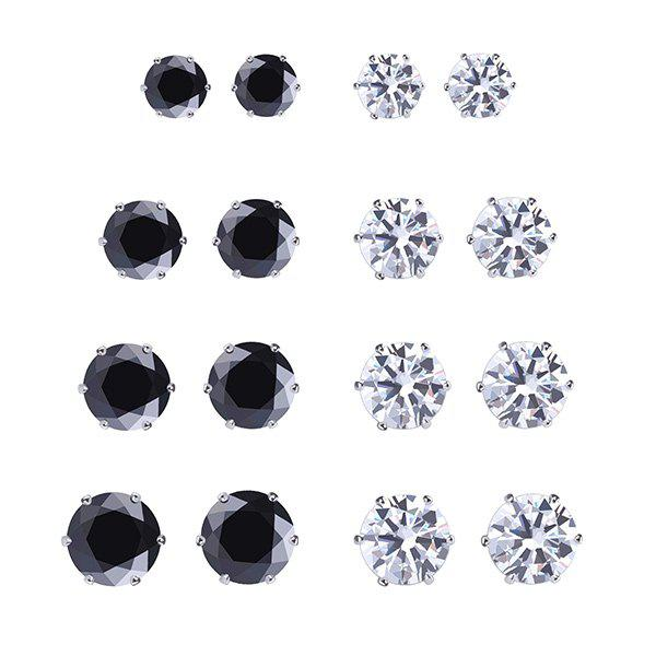 A Suit of Round Geometric Rhinestone Stud Earrings - COLORMIX