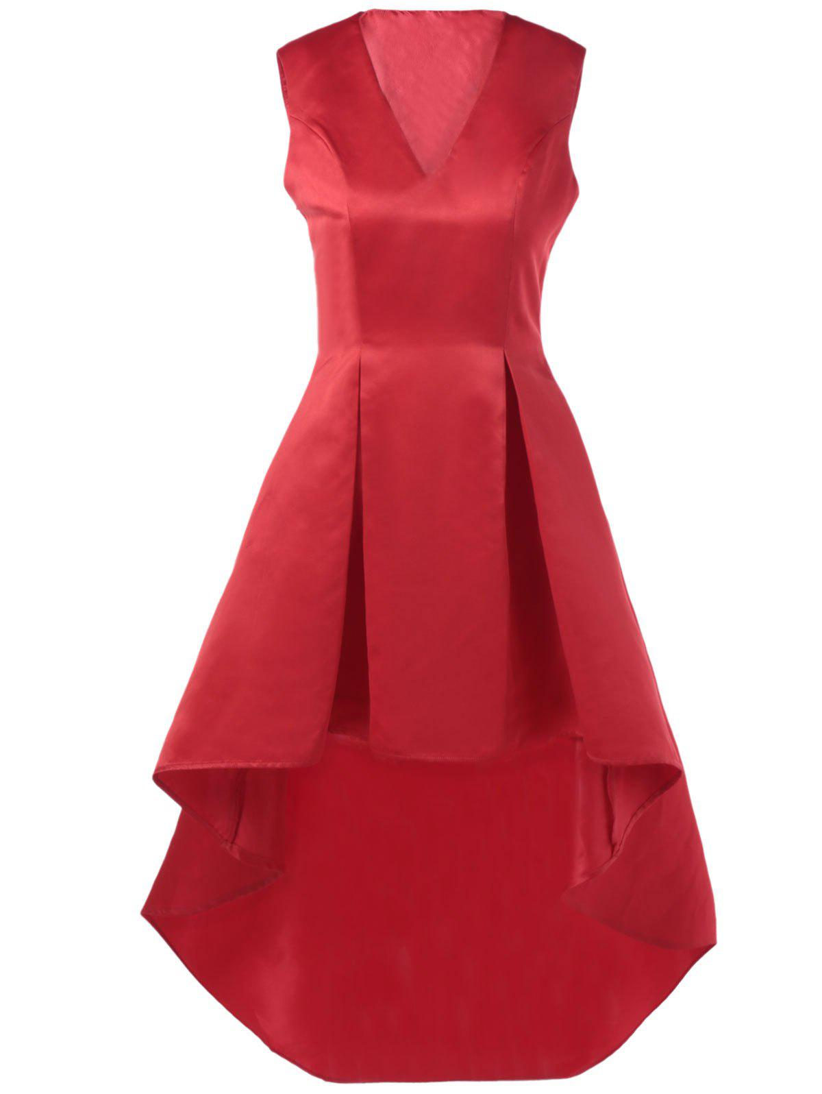 Gorgeous Sleeveless High Waisted Dovetail Dress - RED XL