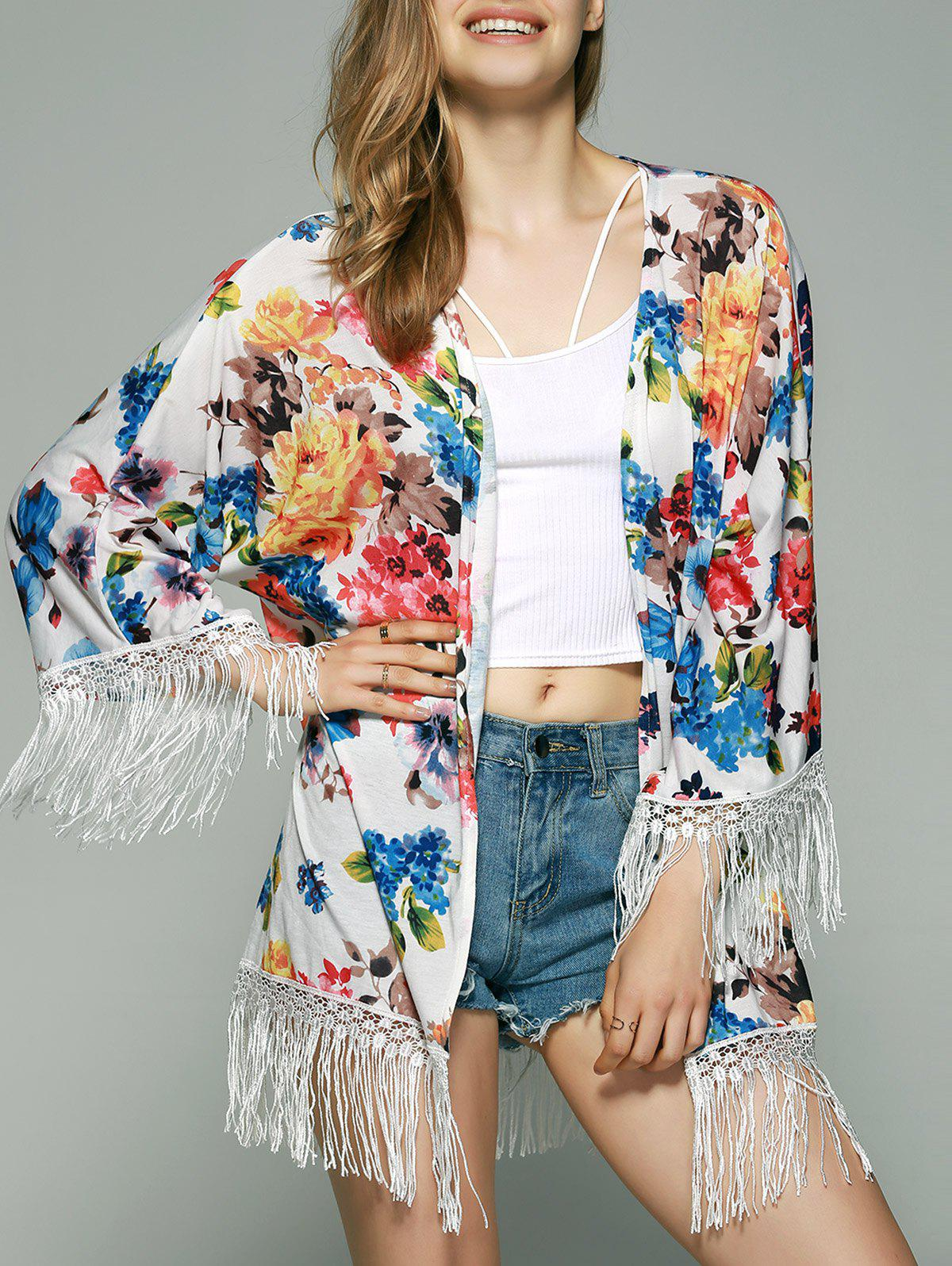 Sweet Fringed Floral Kimono - COLORMIX XL