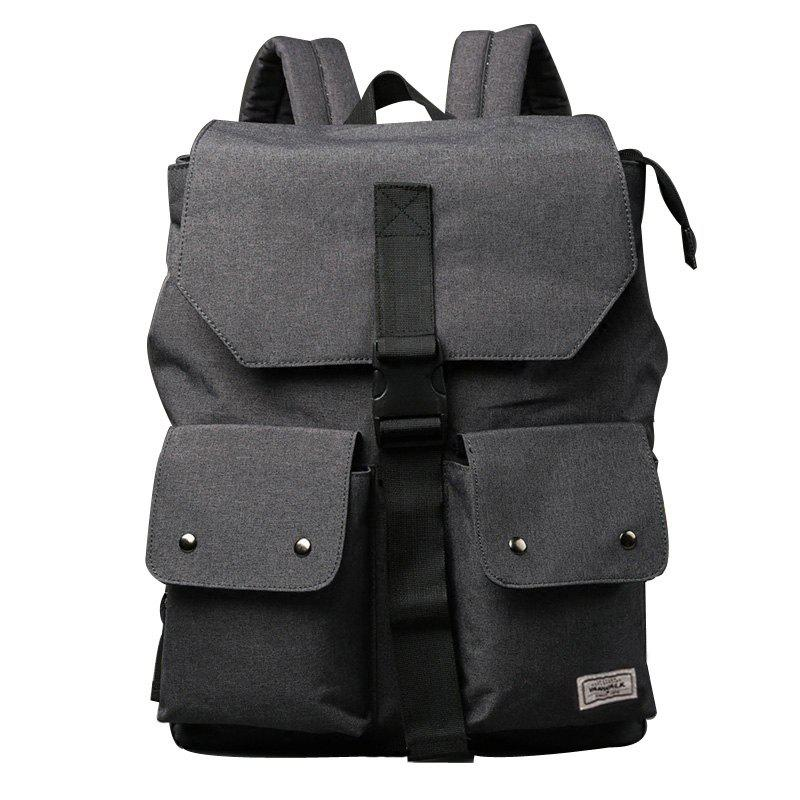 Leisure Pocket and Canvas Design Men's Backpack - DEEP GRAY