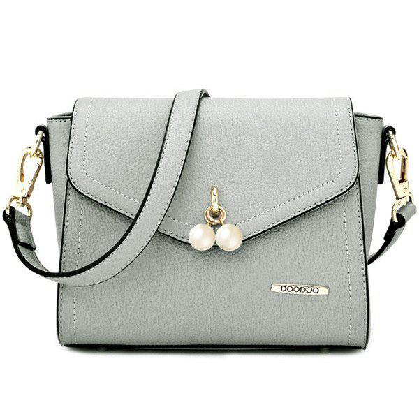 Sweet Beads and PU Leather Design Women's Crossbody Bag