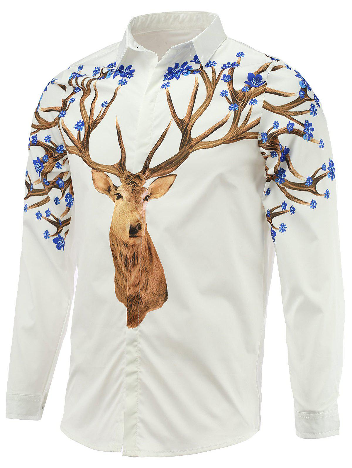 Long Sleeve Turn-Down Collar Sika Deer Printed Shirt - WHITE 2XL