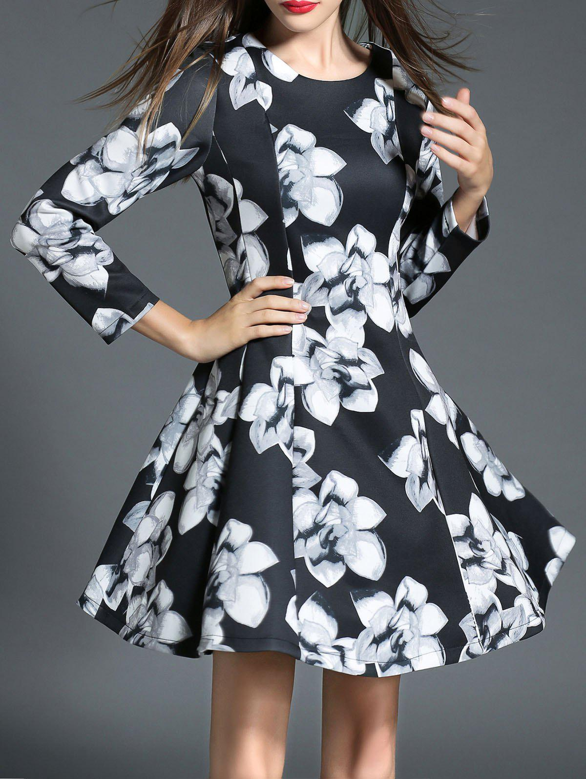 Round Neck Floral Print High-Waisted Slimming Dress - BLACK XL