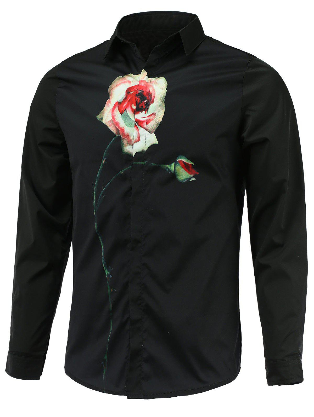 Long Sleeve Turn-Down Collar Rose Printed Shirt - BLACK 2XL