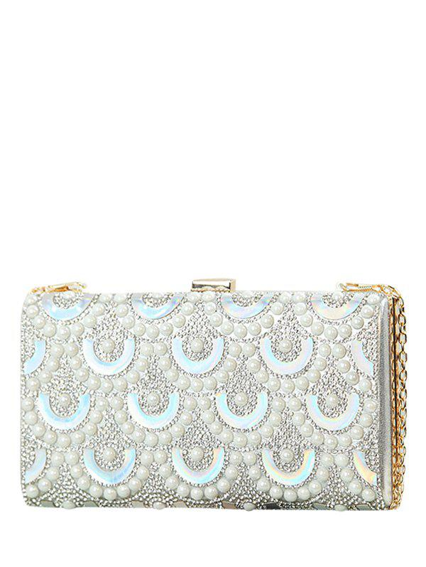 Rhinestone Faux Pearl Evening Bag - SILVER