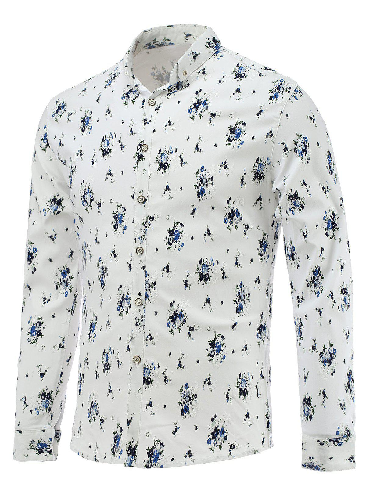 Turn-Down Collar Long Sleeve Tiny Floral Printed Shirt - BLUE 3XL