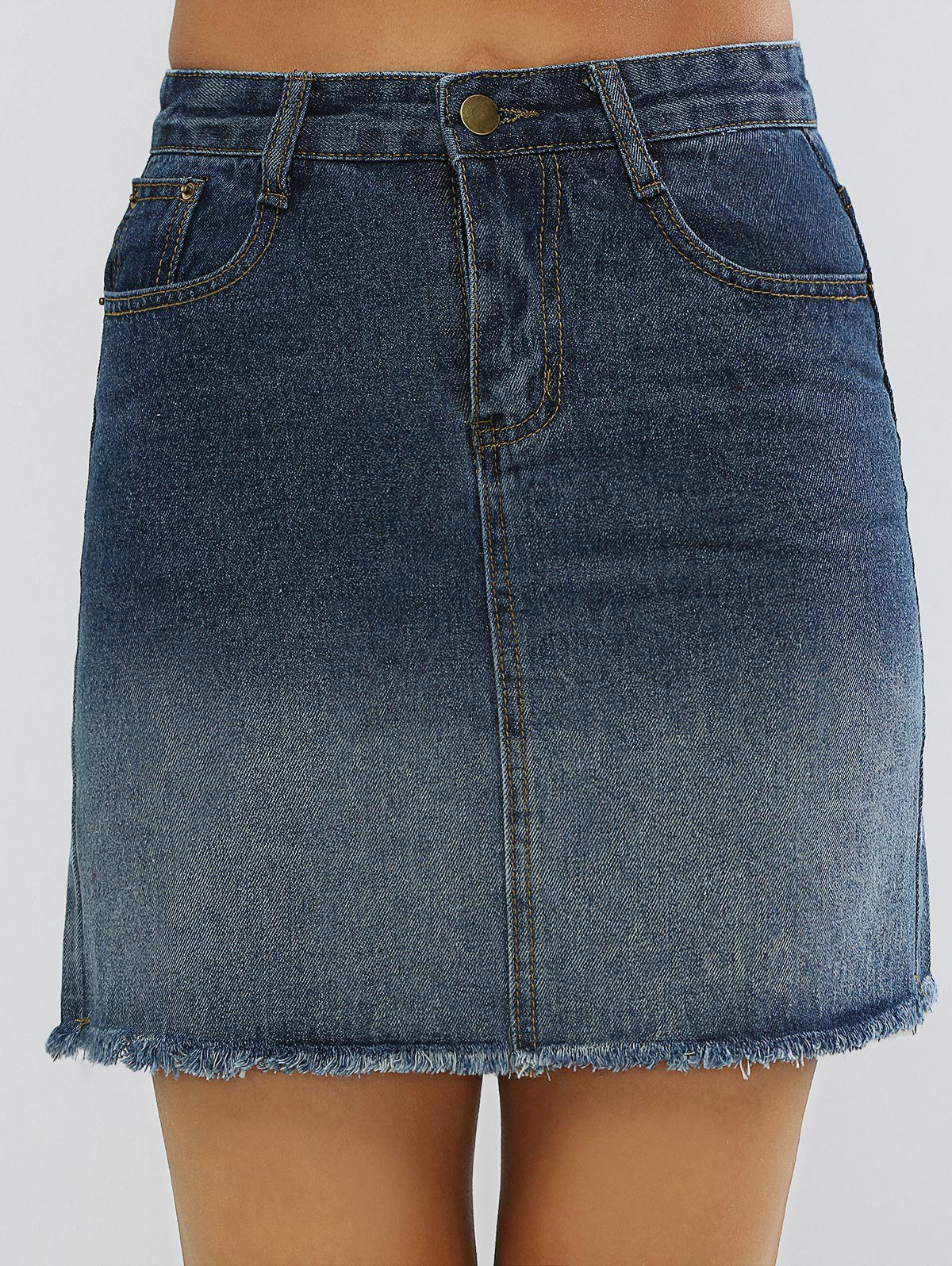 Gradient Color High Waist Denim Skirt - DENIM BLUE XL