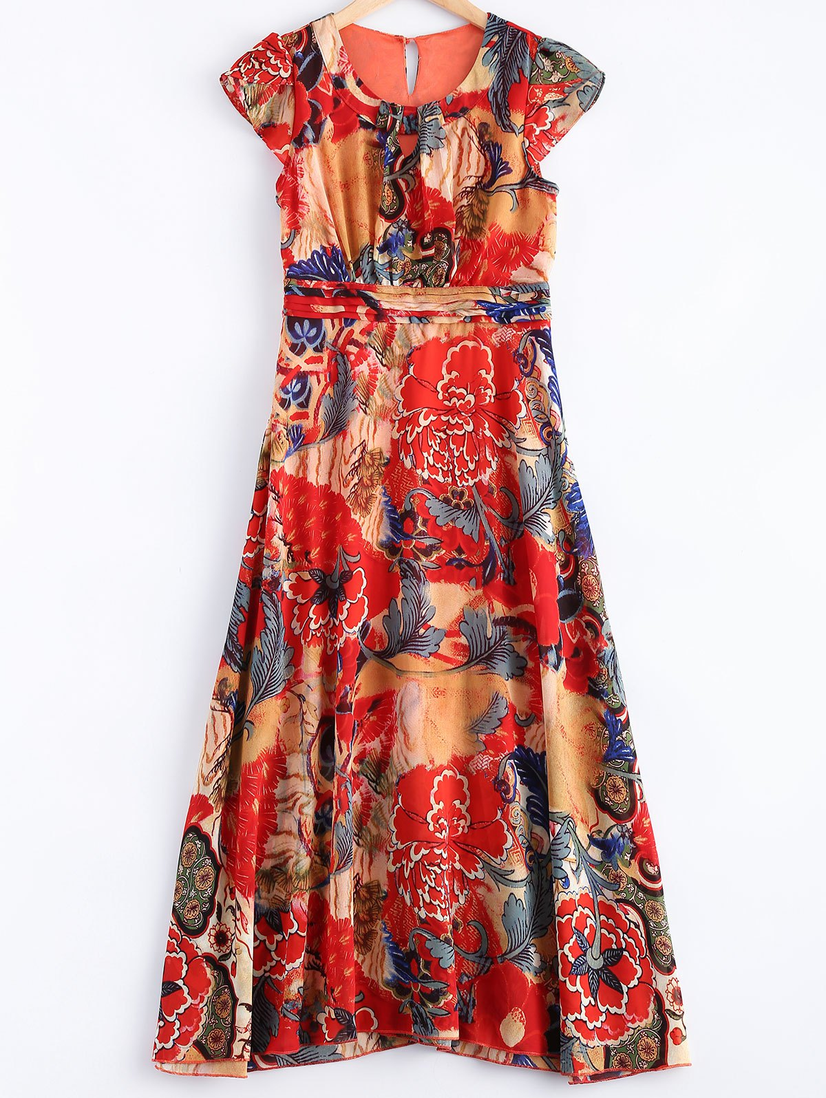 Floral Print High Waist Maxi Dress - JACINTH 3XL