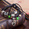Faux Leather Rope Beads Heart Bracelet - BLACK