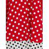 Retro Style Polka Dot Lace-Up Splicing Dress - RED 2XL