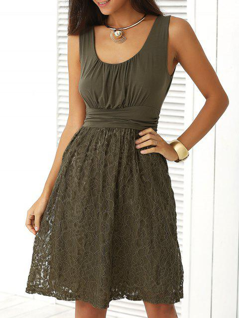 Embroidery Lace Splicing Tank Dress - ARMY GREEN M