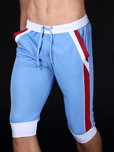 Color Block Splicing Design Lace-Up Sport Cropped Joggers - Azur S